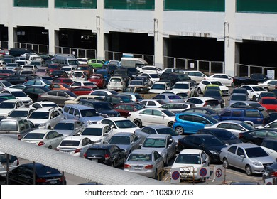 BANGKOK, THAILAND - July 23, 2017: Chaos in the overcrowded parking lot next to Chatuchak market in Bangkok