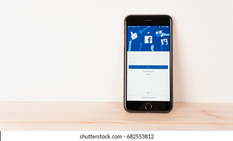 BANGKOK ,THAILAND - July 23, 2017 : Login Screen Facebook icons on Apple IPhone. largest and most popular social networking site in the world.