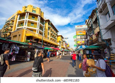 BANGKOK THAILAND - July 23, 2017 : Khao San Road is a small road located on the Rattanakosin Island, This road is major tourist and popular among backpacker.