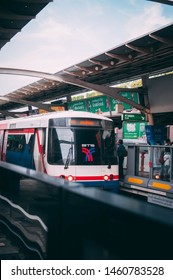 Bangkok, Thailand - JULY 23, 2019 : Bangkok Mass Transit System Plc reduce the fare price of the BTS train by adjust the price down to 15 baht / throughout the line within 1 month
