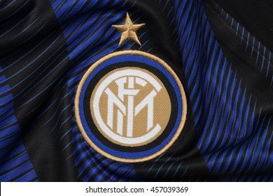 BANGKOK, THAILAND - JULY 24, 2016: The Logo of Inter Milan on the Jersey on July 24,2016 in Bangkok Thailand.