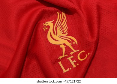 BANGKOK, THAILAND - JULY 24, 2016: The Logo of Liverpool Football Club on the Jersey on July 24,2016 in Bangkok Thailand.