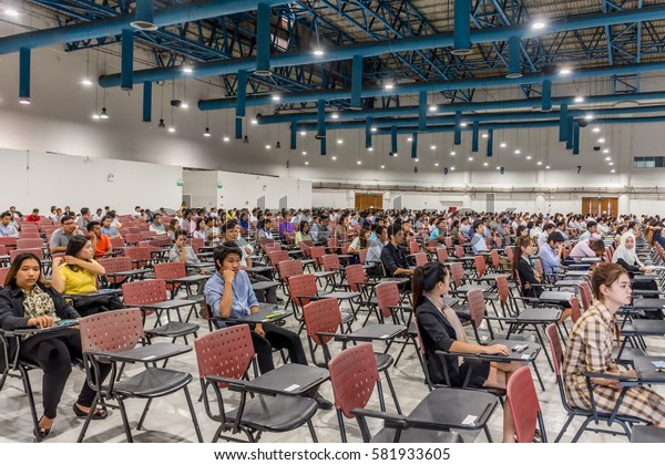 Bangkok, Thailand - July 24, 2016 : Adults take exam for appoint at State Railway of Thailand.