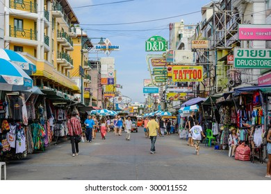 Bangkok, Thailand - July 25, 2015: tourists walk along backpacker haven Khao San Road and tuktuk around in Bangkok, Thailand