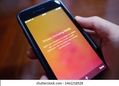 Bangkok, Thailand - July 25, 2019 : iPhone 7 showing its screen with Private Browsing mode in Safari web browser.