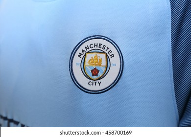 BANGKOK, THAILAND - JULY 26, 2016: The Logo of Manchester City Football Jersey on July 26,2016 in Bangkok Thailand.