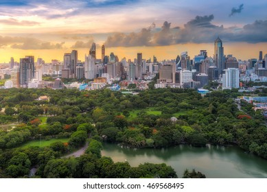 Bangkok, Thailand - July 26, 2016 : The most beautiful scene of Bangkok city during sunset. You can see Lumphini Park together with group of buildings in the scene.