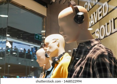 Bangkok, Thailand - July 26, 2019 : A storefront mannequin for fashion brand CPS Chaps, one of the brands owned by the textile conglomerate Jaspal Group.