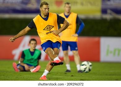 BANGKOK THAILAND JULY 26: Hallam Hope of Everton in action during training session at Supachalasai Stadium on July 26, 2014 in Bangkok, Thailand.