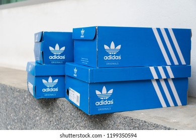 hot sale online 27474 8de4f BANGKOK, THAILAND - JULY 27, 2018  Adidas Sign On Adidas Shoe Box.