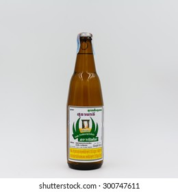 BANGKOK, THAILAND -July 28, 2015: Thai Local White whiskey on white background.Product of Thailand,Thai people like to drink because cheap and strong flavor.