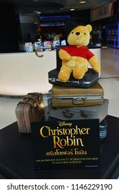 Bangkok, Thailand - July 28, 2018: Cute Winnie The Pooh Bear Doll (Story by A. A. Milne.) from the movie Christopher Robin displays at the theater.