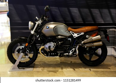 Bangkok, Thailand - July 28, 2018: The BMW R nineT motorcycle (introduced by BMW Motorrad) Display to Promote The Movie Mission: Impossible - Fallout or MI6 at the theater.