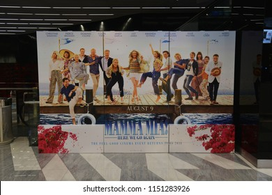 Bangkok, Thailand - July 28, 2018: Standee of A Musical Romantic Comedy Movie Mamma Mia! Here We Go Again (Mamma Mia 2) displays at the theater