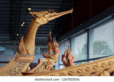 BANGKOK, THAILAND - JULY 28, 2018:The royal barge Suphannahong in The Royal Barges Museum in Bangkok.