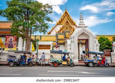BANGKOK - THAILAND, JULY 28 : Giant swing and around Suthat Temple, Landmarks of Bangkok on 28 July 2007, Bangkok, Thailand