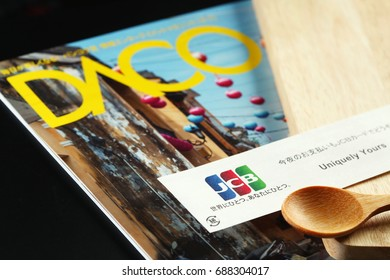 BANGKOK, THAILAND - JULY, 28: The international payment brand from japan advertised on chopsticks package represent the financial company and food retail business on July 28, 2017 in Bangkok Thailand.