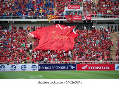 BANGKOK, THAILAND - JULY 28: Unidentified Thai fan Liverpool FC supporters during the international friendly match Thailand and Liverpool at Rajamangala Stadium on July 28, 2013 in Bangkok,Thailand.