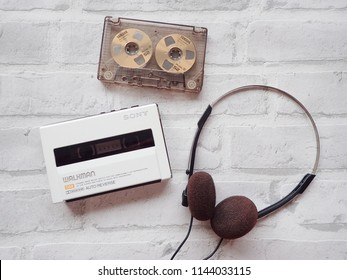 Bangkok Thailand July 28,2018 Sony walkman cassette player by Sony Company.