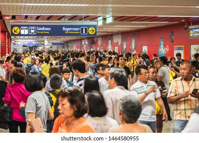 "Bangkok, Thailand July 29, 2019. Bangkok residents at soft opening of Metropolitan Rapid Transit or MRT station ""Wat Mangkon"" locate in the middle of Chinatown."