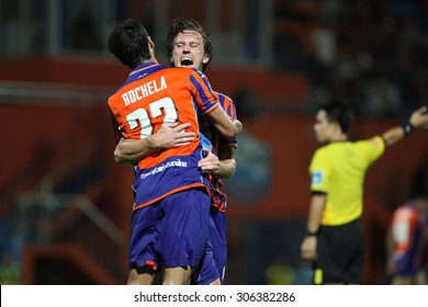 BANGKOK THAILAND- JULY 29 :Brent McGrath of Thai Port Fc celebrates after scoring during Chang FA Cup 2015 between Thai Port Fc and TOT S.C. at PAT Stadium on July 29,2015 in Bangkok Thailand