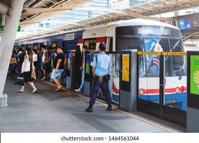 BANGKOK, THAILAND - JULY 29 : BTS Skytrain or The Bangkok Mass Transit System running on sukhumvit line on July 29, 2019 in Bangkok. BTS Route has been designed to help people discover Bangkok easily.