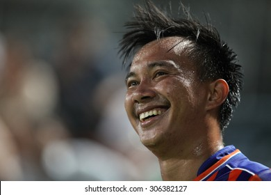 BANGKOK THAILAND- JULY 29 :Jirawat Makarom of Thai Port Fc in action during Chang FA Cup 2015 between Thai Port Fc and TOT S.C. at PAT Stadium on July 29,2015 in Bangkok Thailand