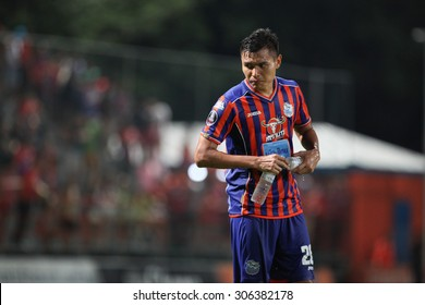 BANGKOK THAILAND- JULY 29 :Todsapol Lated of Thai Port Fc in action during Chang FA Cup 2015 between Thai Port Fc and TOT S.C. at PAT Stadium on July 29,2015 in Bangkok Thailand