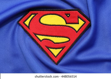 BANGKOK, THAILAND -JULY 3, 2016: Superman Logo on Blue Fabric on July 3,2016