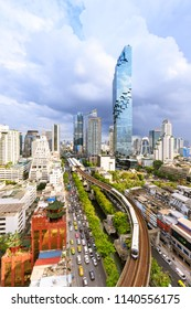 Bangkok, Thailand - July 3, 2018: Business district cityscape with Mahanakhon, the tallest skyscraper in Thailand.