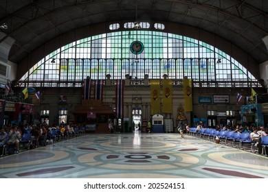 BANGKOK, THAILAND - JULY 3: Inside Bangkok Railway Station on July 3, 2014 at Bangkok Railway Station, unofficially known as Hua Lamphong Station, is the main railway station in Bangkok, Thailand.
