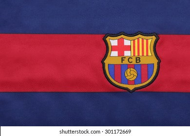 BANGKOK, THAILAND -JULY 30, 2015: the logo of Barcelona football club on an official jersey on July 30, 2015 in Bangkok Thailand.