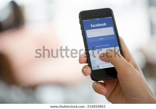 BANGKOK, THAILAND - JULY 30, 2015: Facebook, a social media are trending and both business as consumer are using it for information sharing and networking.
