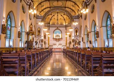BANGKOK, THAILAND - July 30, 2017: Inside of Holy Rosary Church at night, Bangkok, Thailand.