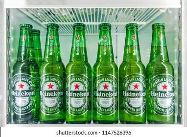 Bangkok, Thailand - July 30, 2018: Heineken beer global brand. Heineken Lager sold in the refrigerator at supermarket