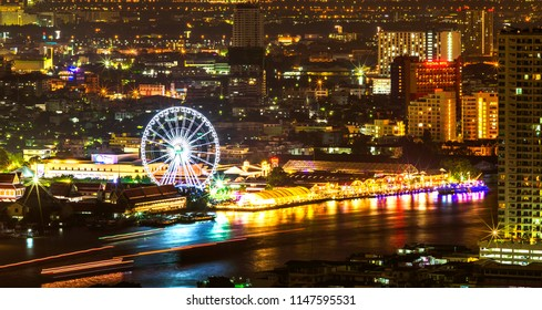 Bangkok, Thailand - July 30 2018 :  Asiatique The Riverfront night shopping mall at night.
