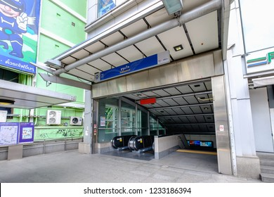 Bangkok, Thailand - July 30, 2018: View of Sukhumvit MRT Station Entrance on Sukhumvit Road. The Metropolitan Rapid Transit or MRT is a rapid transit system serving the Bangkok Metropolitan Region.