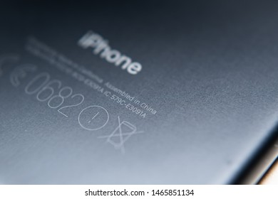 """Bangkok, Thailand - July 30, 2019 : The text """"Assembled in China"""" engraved on the back of iPhone 7."""