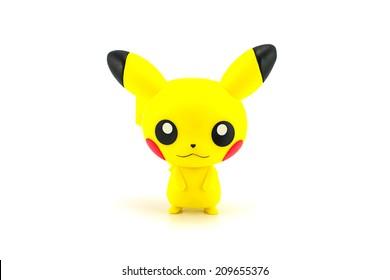 Bangkok, Thailand - July 31, 2014: Pikachu figure character from the Pokemon Japanese cartoon animation.