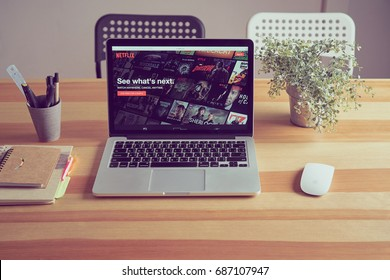 BANGKOK ,THAILAND - July 31, 2017 : Netflix app on Laptop screen. Netflix is an international leading subscription service for watching TV episodes and movies.
