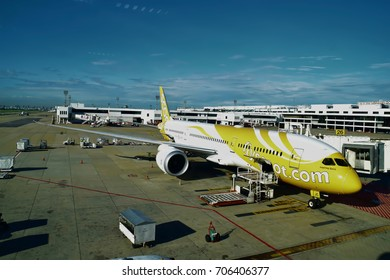 BANGKOK, THAILAND - JULY 5, 2017: An airplane of Scoot Airlines at Thailand international airport.