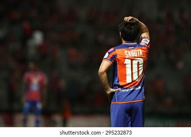 BANGKOK THAILAND- JULY 5 :Hironori Saruta of Thai Port Fc in action during Thai Premier League (TPL) between Thai Port Fc and TOT SC at PAT Stadium on July5,2015 in Bangkok Thailand