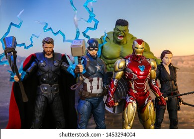 Bangkok, Thailand - July 6,2019: A setting of Avengers team action figures from Avengers comic.