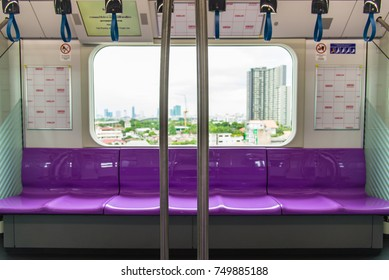 BANGKOK, THAILAND - JULY 7, 2016: An empty seat row inside Bangkok MRT Purple Line train on July 7, 2016.
