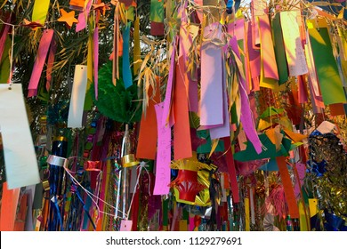 BANGKOK, THAILAND -JULY 7, 2018: The Japanese Star Festival, Tanabata, with colorful wish paper decorations