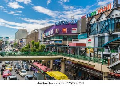 Bangkok, Thailand - July 7, 2018 : Traffic jam at Center one near Victory Monument in center of Bangkok, Thailand