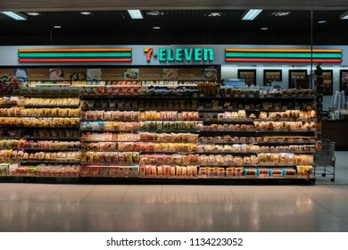 Bangkok, Thailand - July 7, 2018 : View of a 7-11 outlet in the arrival gate at Suvarnabhumi Airport