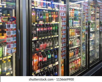 Bangkok, Thailand - July 7, 2018 : Close up of assorted soft drinks in a 7-11 convenience store at Pratunam