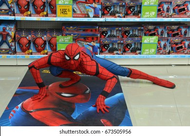 Bangkok, Thailand - July 8, 2017: Cosplay from the Movie Spider-Man: Homecoming at the shop to promote the movie.