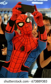 Bangkok, Thailand - July 8, 2017: Cute Spiderman Cosplay from the Movie Spider-Man: Homecoming at the theater to promote the movie.